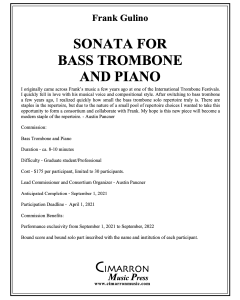 Commission for Sonata for Bass Trombone and Piano by Frank Gulino